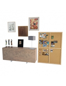 wooden-sideboard-and-ethnic-decorations-3d-models