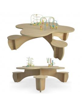 table-d-eveil-en-bois-modele-3d