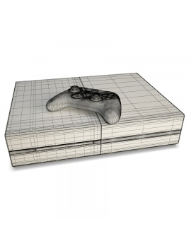 game-console-and-joystick-xbox-3d-model-wireframe