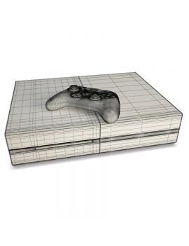 console-de-jeux-et-manette-xbox-modele-3d-filaire