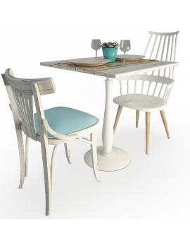 set-de-table-en-bois-use-et-chaises-modele-3d