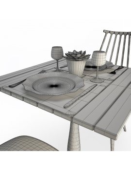 used-wood-table-and-chairs-set-3d-models-03-wireframe