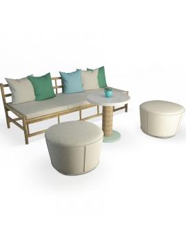 set-de-canape-en-bois-flotte-et-poufs-modele-3d