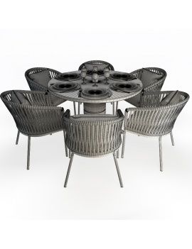 dalia-table-and-bitta-armchairs-set-3d-models-wireframe