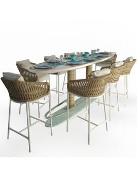 set-de-table-haute-surf-et-tabourets-bitta-modele-3d