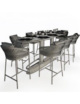 surf-high-table-and-bitta-stools-set-3d-models-wireframe