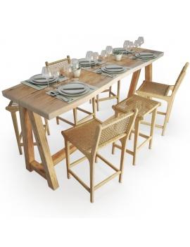 set-de-table-mange-debout-et-tabouret-en-bois-et-corde-ateliers-modele-3d