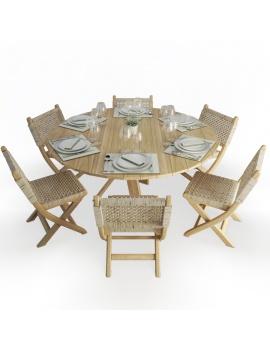 set-de-table-ronde-et-chaises-pliantes-en-bois-et-corde-atelier-s-modele-3d