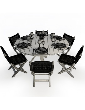 set-de-table-ronde-et-chaises-pliantes-en-bois-et-corde-atelier-s-modele-3d-filaire