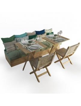 set-de-banquette-et-chaises-pliantes-en-bois-et-corde-atelier-s-modele-3d