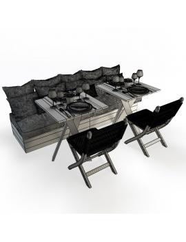 set-de-banquette-et-chaises-pliantes-en-bois-et-corde-atelier-s-modele-3d-filaire