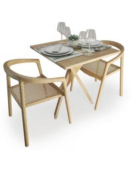 set-de-table-et-chaises-en-bois-et-rotin-atelier-s-modele-3d