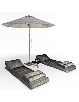 composition-de-bains-de-soleil-avec-tetieres-en-bois-atelier-s-modele-3d-filaire