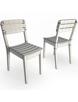 chaise-en-teck-lodge-de-vlaemynck-modele-3d-filaire