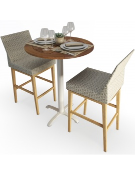 round-high-table-and-braided-stool-set-3d-model