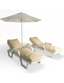 plastic-sunbeds-set-3d-model