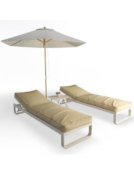 metallic-sunbeds-set-3d-model