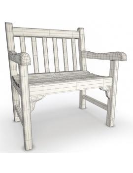 collection-3d-de-mobilier-extérieur-en-bois-chaise-green-filaire