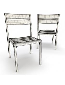 collection-3d-de-mobilier-extérieur-en-bois-chaise-village-filaire