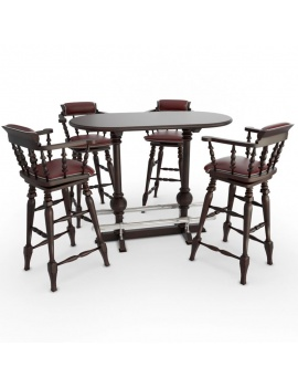 amenagement-de-pub-anglais-en-3d-tabouret-et-table-haute