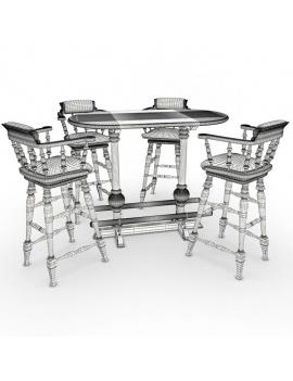 amenagement-de-pub-anglais-en-3d-tabouret-et-table-haute-filaire