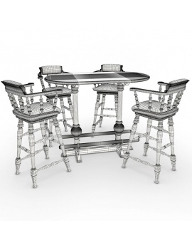 english-pub-furniture-collection-3d-models-bar-stool-high-table-wireframe