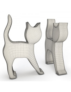 sculpture-collection-3d-models-cat-wireframe