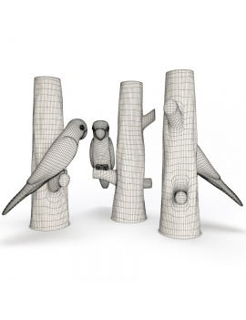 sculpture-collection-3d-models-parrot-and-tree-wireframe