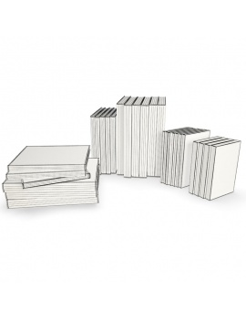 books-collection-3d-models-travel-wireframe