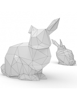 origami-paper-sculpture-collection-3d-models-rabbit-wireframe