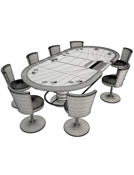 casino-machine-and-lighting-collection-3d-models-card-table-poker-wireframe