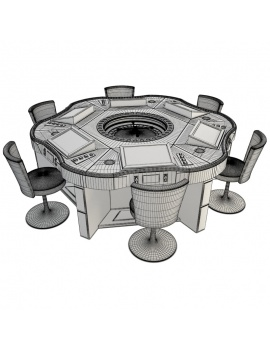 casino-machine-and-lighting-collection-3d-models-game-table-roulette-royal-crown-wireframe
