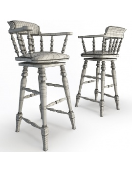 classic-bar-wooden-furniture-3d-barstool-leather-wireframe