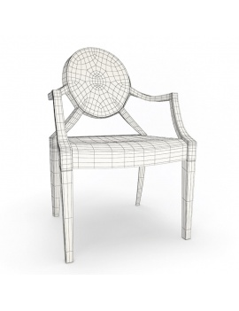 chaise-plastique-ghost-starck-modele-3d-filaire