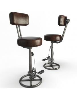 tabourets-vintage-a-pedales-modele-3d-avec-dossier