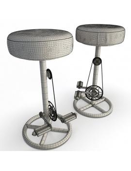tabourets-vintage-a-pedales-modele-3d-sans-dossier-filaire