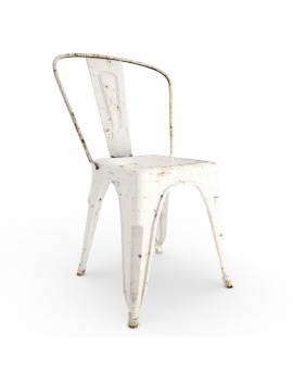 rusted-metal-chair-3d-white