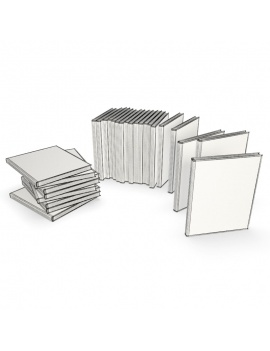 set-of-architect-books-3d-wireframe