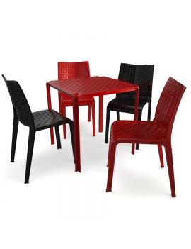 table-et-chaises-en-plastique-ami-kartell-3d