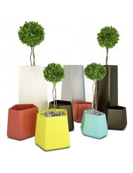 plastic-pots-collection-rock-garden-3d