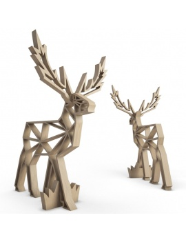 sculpture-decorative-cerf-bois-3d