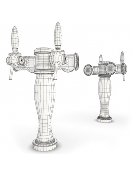 beer-taps-elysee-3d-models-2-nozzles-wireframe