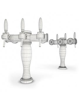 beer-taps-elysee-3d-models-3-nozzles-wireframe