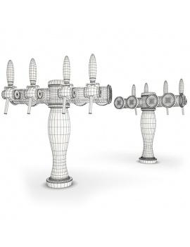 beer-taps-elysee-3d-models-4-nozzles-wireframe