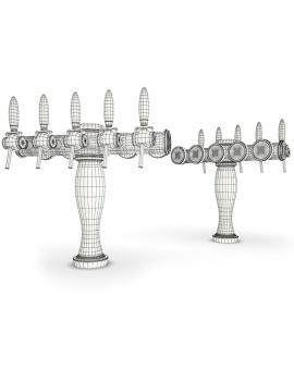 beer-taps-elysee-3d-models-5-nozzles-wireframe