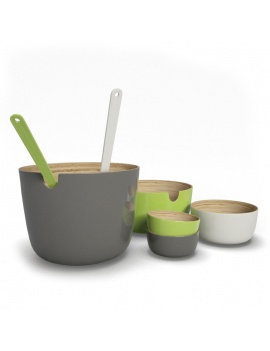 Decorative Set of Bamboo Bowls - 3d Model