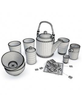decorative-set-tea-time-white-3d-wireframe