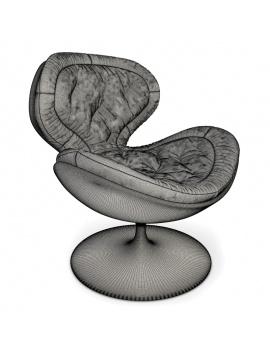 fauteuil-pivotant-en-velours-modele-3d-filaire