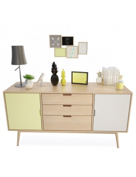 scandinavian-sideboard-with-decorations -3d