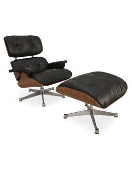 fauteuil-repose-pieds-cuir-et-bois-3d